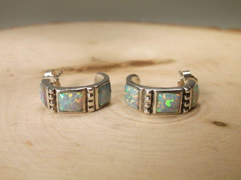 Gorgeous Sterling Silver Opal Earrings