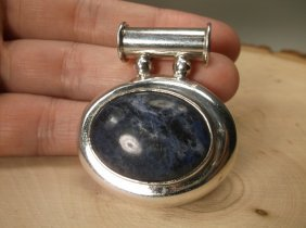 Gorgeous Huge Taxco Sterling Silver Lapis Pendant