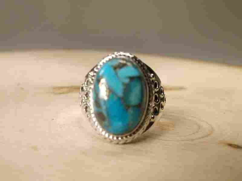 Gorgeous Sterling Silver Turquoise Ring 8.5