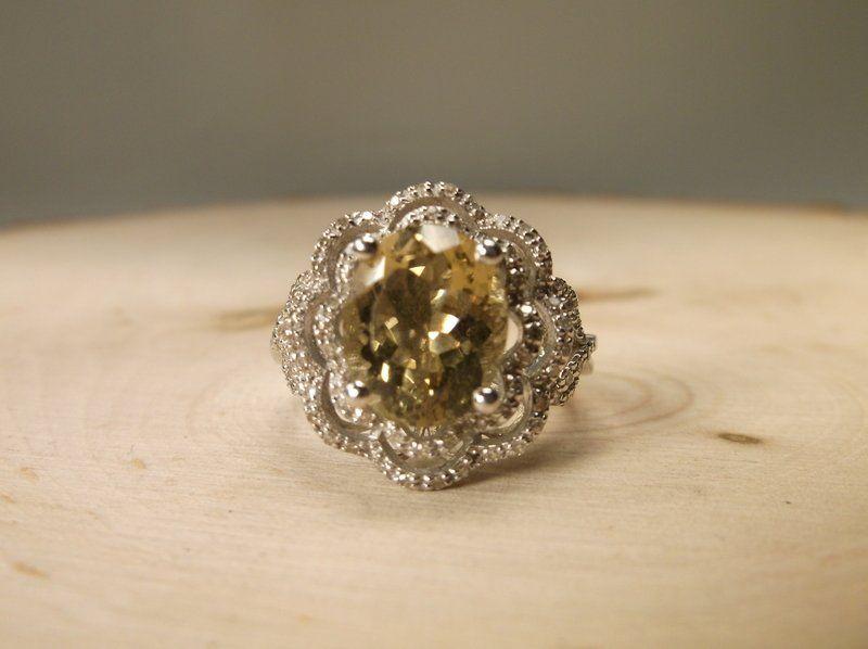 Stunn Sterling Genuine Diamond 4ct Citrine Ring 9