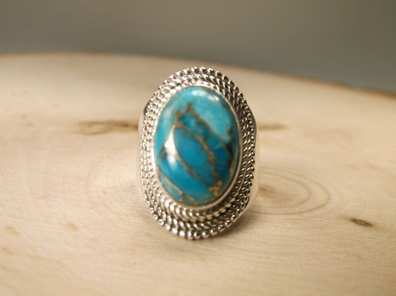 Gorgeous Sterling Silver Turquoise Ring 6.5