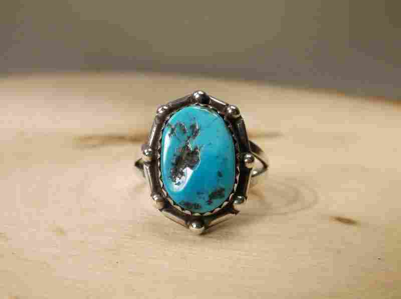 Gorgeous Sterling Silver Navajo Turquoise Ring 9
