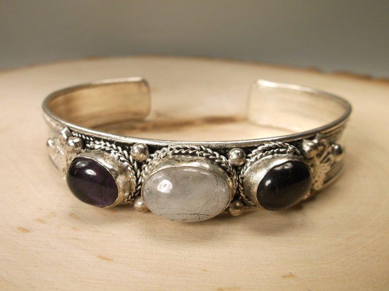 Gorgeous Genuine Amethyst Rock Crystal Cuff Bracelet