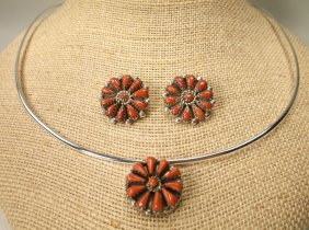 Gorgeous Navajo Sterling Red Coral Necklace Earrings
