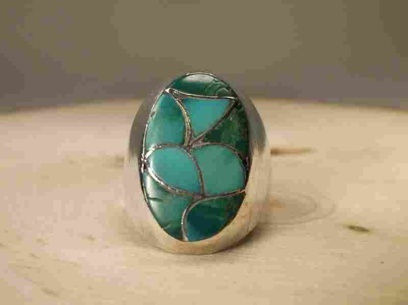 Navajo Sterling Silver Turquoise Ring 11 Emma Bonney