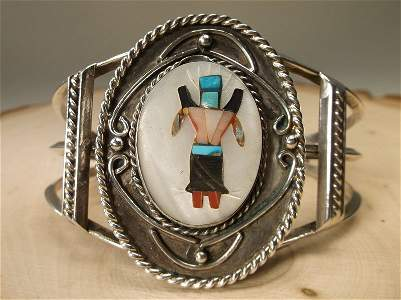 Gorgeous Zuni Sterling Silver Kachina Cuff Bracelet