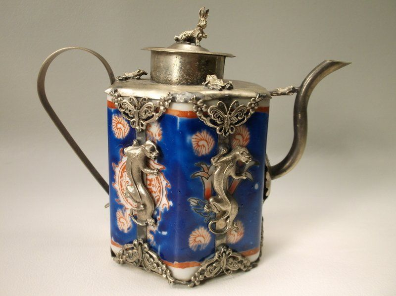 Antique Sterling Chine Panther Teapot Rabbit