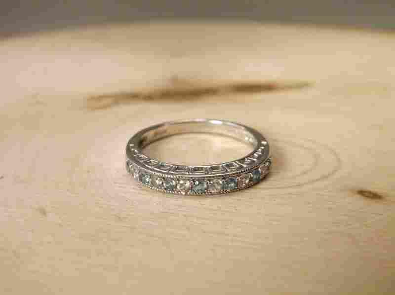 Gorgeous Sterling Gen Aquamarine Sapphire Ring 7