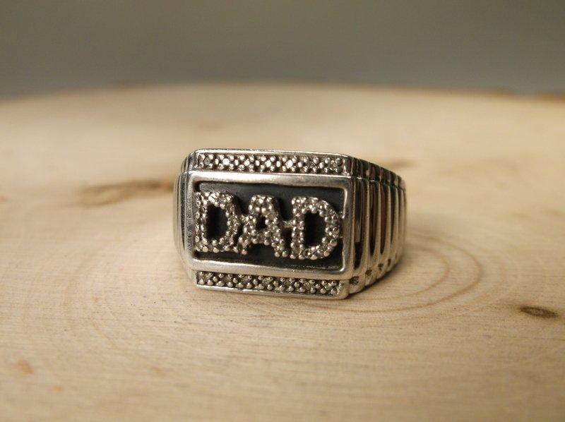 Gorgeous Sterling 47 Gen Diamond Dad Ring 10.5