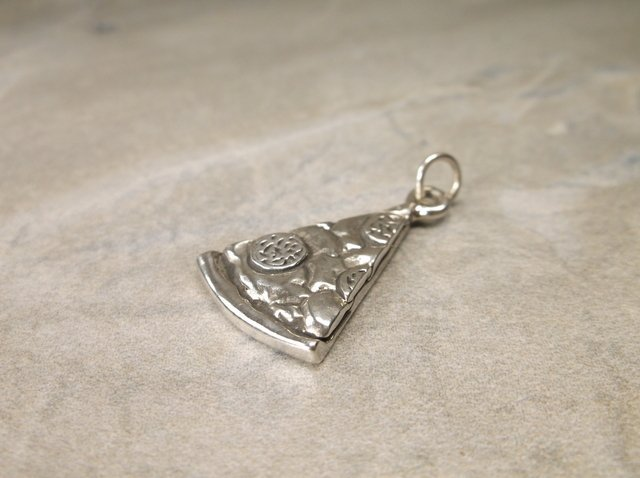 Gorgeous Sterling Silver Pizza Slice Charm