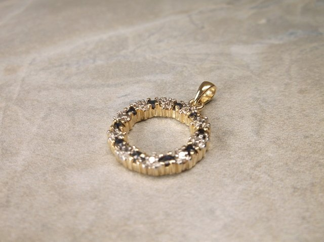 Gold Over Sterling Gen Diamond Sapphire Pendant