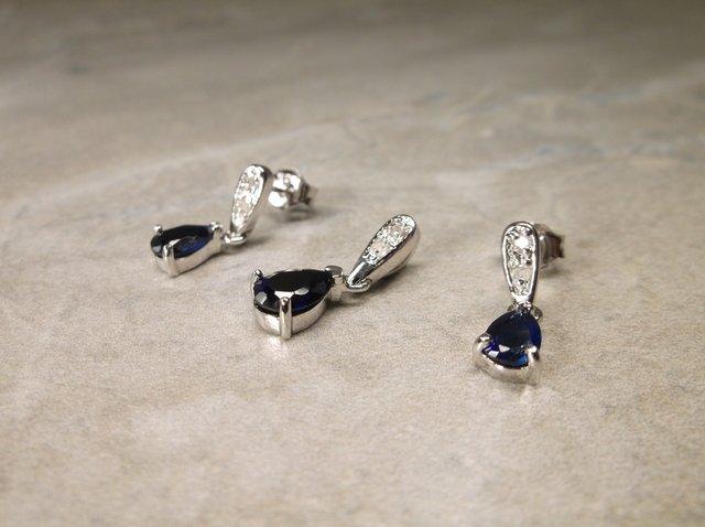 Sterling Gen Diamond Sapphire Pendant Earrings