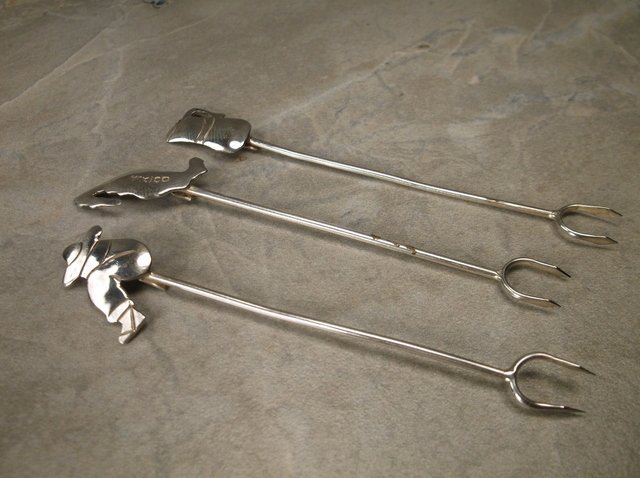 3 Gorgeous Taxco Sterling Hors d'oeuvres Forks