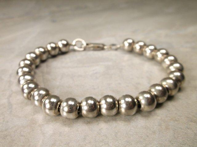 Beautiful Very Heavy Sterling Ball Bracelet