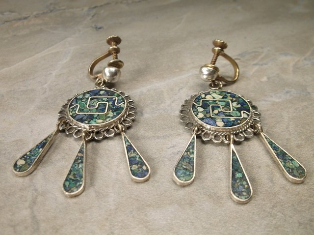Gorgeous R Luno Taxco Sterling Turquoise Earrings
