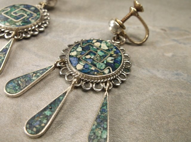 Gorgeous R Luno Taxco Sterling Turquoise Earrings - 2