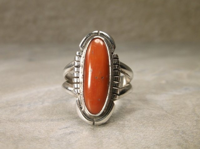 Gorgeous Navajo Sterling Red Coral Ring 7 TP
