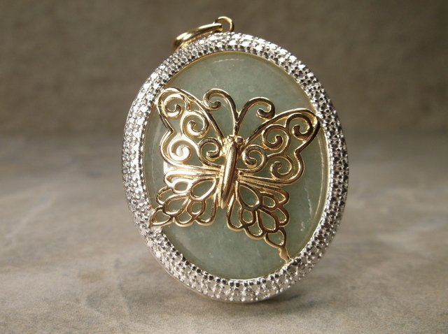 Stunning Gold Over Sterling Jade Butterfly Pendant