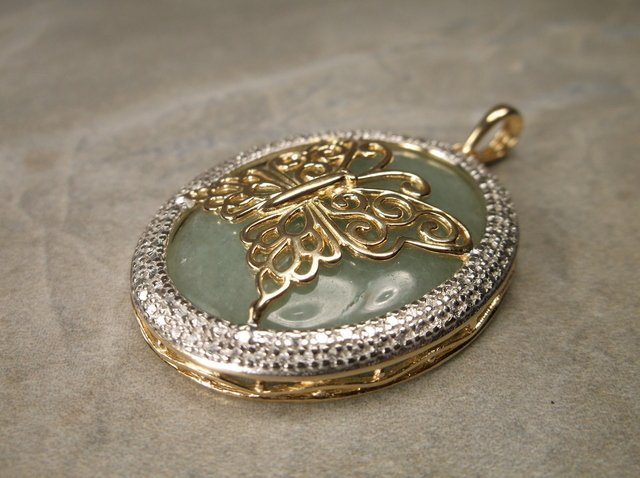 Stunning Gold Over Sterling Jade Butterfly Pendant - 2