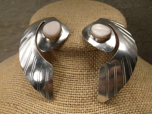 Beautiful Huge Navajo Sterling MOP Earrings P