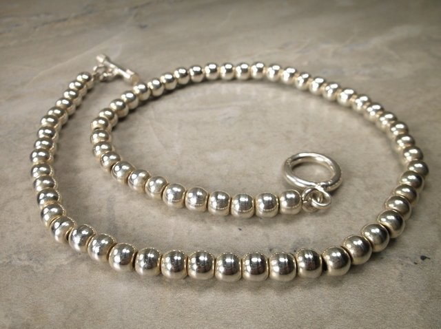 """Gorgeous Heavy Sterling Silver Ball Necklace 16"""""""