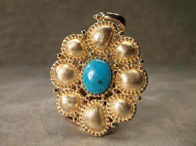 Stunning Gold Over Sterling Turquoise Pendant