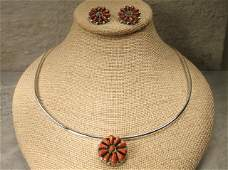 Gorgeous Navajo Sterling Red Coral Pendant Earrings
