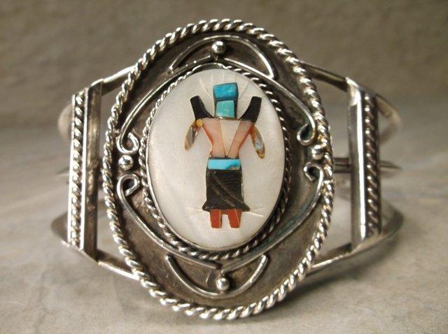 Gorg Huge Zuni Sterling Turquoise Cuff Bracelet