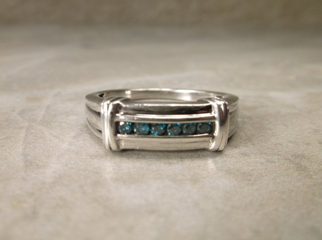Stunn Mens Sterling 6 Gen Blue Diamond Ring 11.5