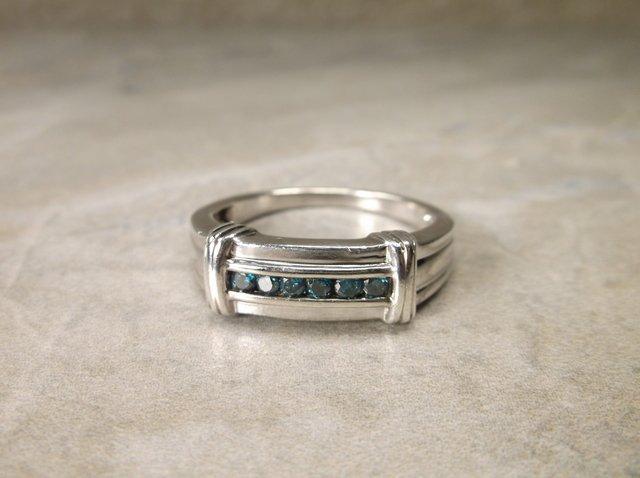 Stunn Mens Sterling 6 Gen Blue Diamond Ring 11.5 - 3