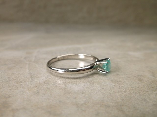 Gorgeous 10kt Gold Sterling Gen .50ct Emerald Ring 7 - 2