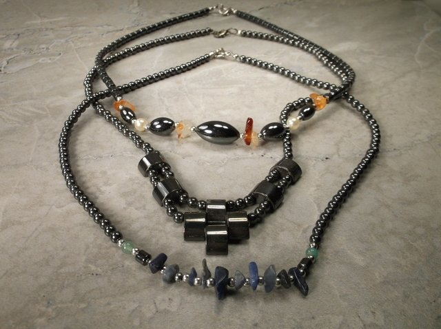 3 Gorgeous Hematite & Gemstone Necklaces