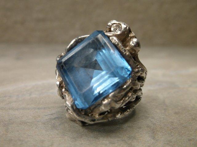 Stunning Vint Sterling Modernist Aquamarine Ring 5