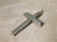 Gorgeous Vintage Sterling Turquoise Cross Pendant
