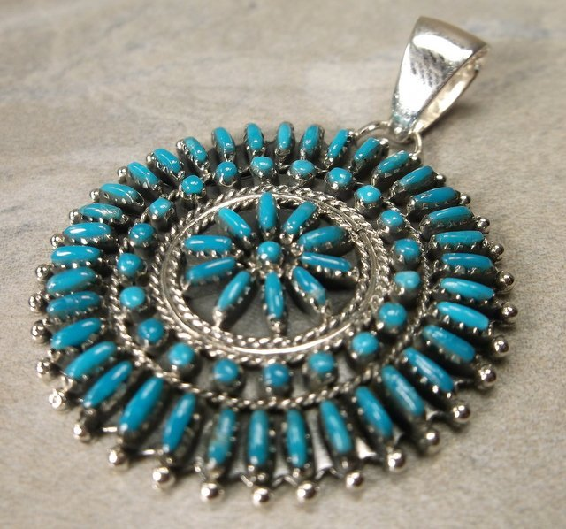 Stunning Sterling Turquoise Squash Blossom Pendant
