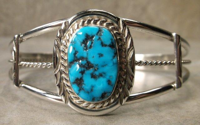 Gorg Vint Navajo Sterling Turquoise Cuff Bracelet R Tom