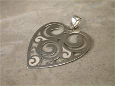 Gorgeous Large Sterling Silver Heart Pendant