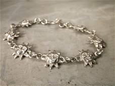 Gorgeous Heavy Sterling Silver Sun Bracelet