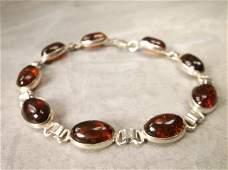 Gorgeous Sterling Silver Amber Bracelet 75