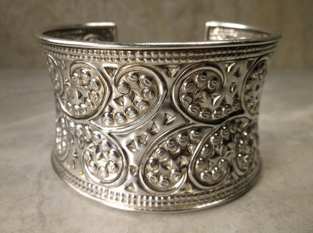 Stunning Huge Samuel Benham Sterling Cuff Bracelet