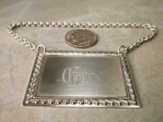 Stunn Antique S Kirk & Son Sterling Gin Liquor Tag