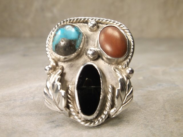 Stunning Sterling Dead Pawn Turquoise Coral Ring 10