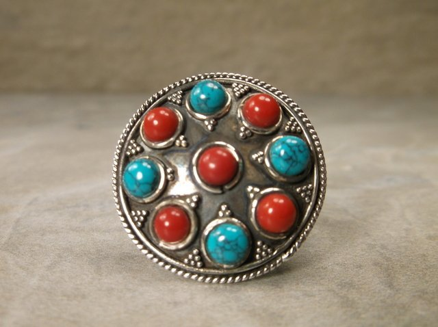 Stunning Sterling Turquoise Red Coral Ring 9