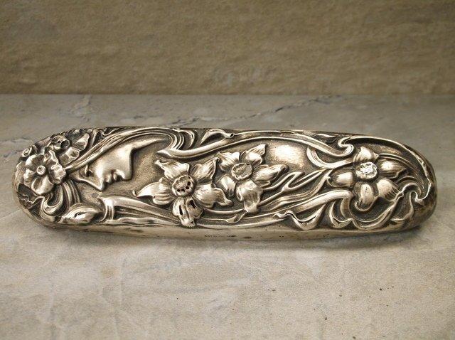 Antique Sterling Art Nouveau Lady Brush Cover
