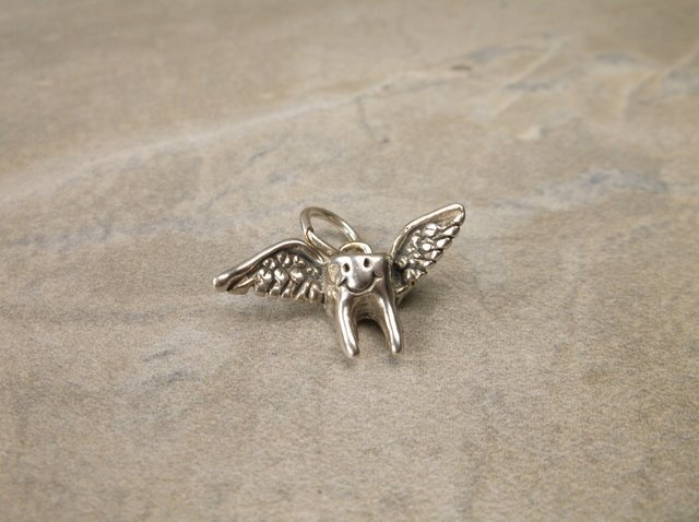 Gorgeous Sterling Flying Tooth Dental Charm