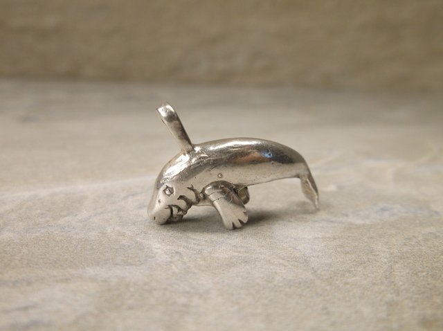 Gorgeous Heavy Sterling Manatee Pendant