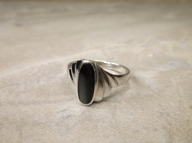 New Sterling Silver Onyx Ring 7