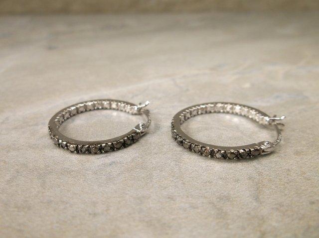 Gorgeous Sterling Genuine Diamond Hoop Earrings