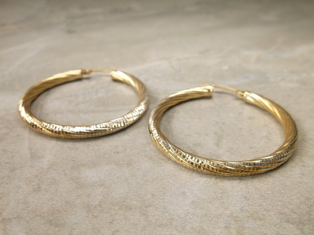 Gorg Large Gold Over Sterling Hoop Earrings