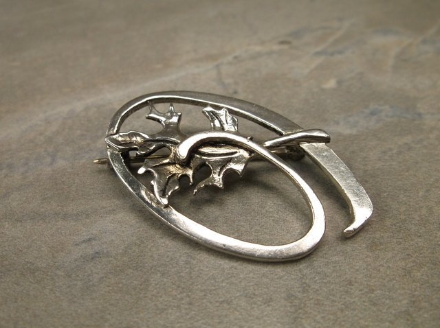 Gorgeous Antique Heavy Sterling Brooch WM